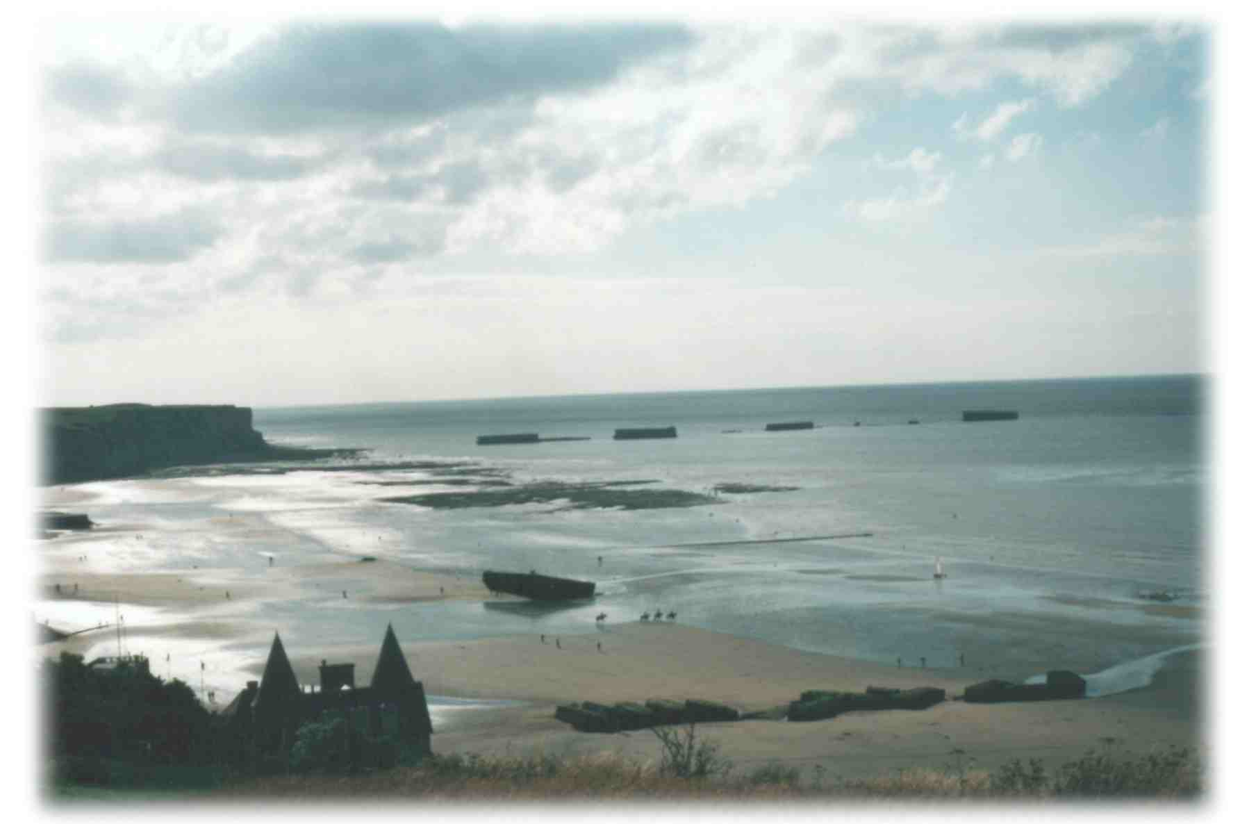 Arromanches and parts of the Mulberry Harbour