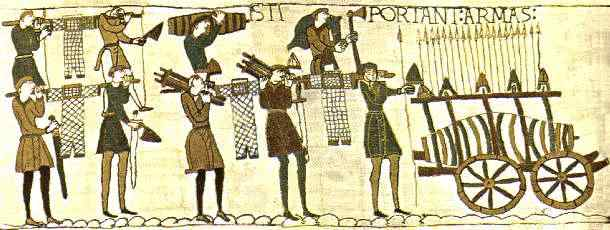 Scene from part of the Bayeux Tapestry